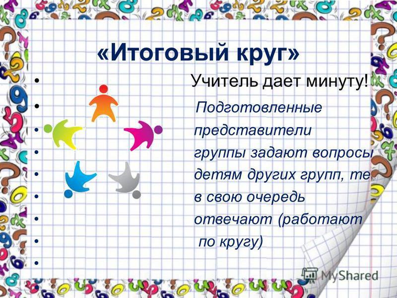 «Итоговый круг» Учитель дает минуту! Подготовленные представители группы задают вопросы детям других групп, те в свою очередь отвечают (работают по кругу)