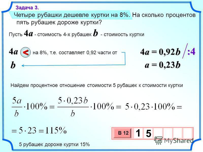 Четыре рубашки дешевле куртки на 8%. На сколько процентов пять рубашек дороже куртки? 3 х 1 0 х В 12 1 5 Задача 3. 4a b Пусть 4a - стоимость 4-х рубашек b - стоимость куртки 4a4a4a4ab на 8%, т.е. составляет 0,92 части от < 4a = 0,92 b a = 0,23 b :4:4