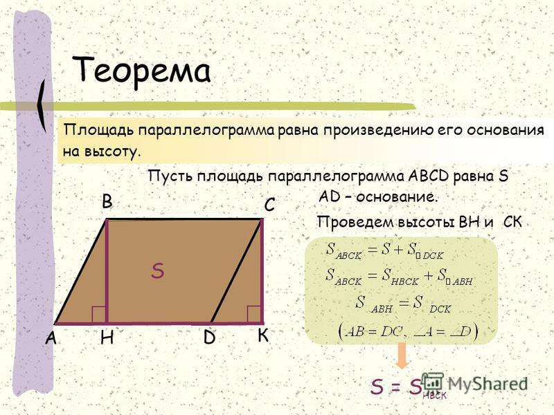 Теорема А В С D Пусть площадь параллелограмма АВСD равна S H АD – основание. S Проведем высоты BH и СК К S = S НВСК Площадь параллелограмма равна произведению его основания на высоту.