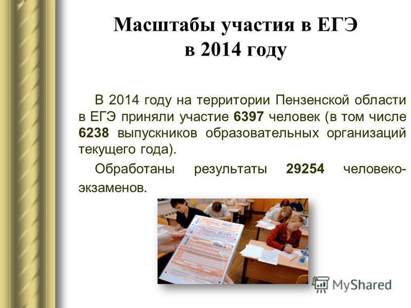 Масштабы участия в ЕГЭ в 2014 году В 2014 году на территории Пензенской области в ЕГЭ приняли участие 6397 человек (в том числе 6238 выпускников образовательных организаций текущего года). Обработаны результаты 29254 человеко- экзаменов.