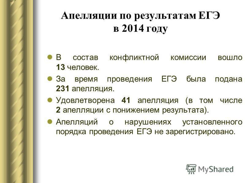Апелляции по результатам ЕГЭ в 2014 году В состав конфликтной комиссии вошло 13 человек. За время проведения ЕГЭ была подана 231 апелляция. Удовлетворена 41 апелляция (в том числе 2 апелляции с понижением результата). Апелляций о нарушениях установле