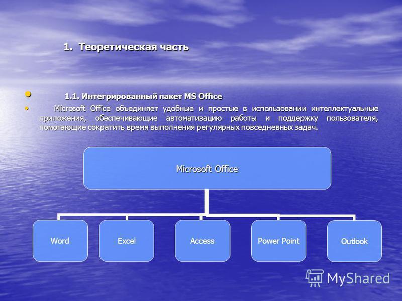 1. Теоретическая часть 1. Теоретическая часть 1.1. Интегрированный пакет MS Office 1.1. Интегрированный пакет MS Office Microsoft Office объединяет удобные и простые в использовании интеллектуальные приложения, обеспечивающие автоматизацию работы и п