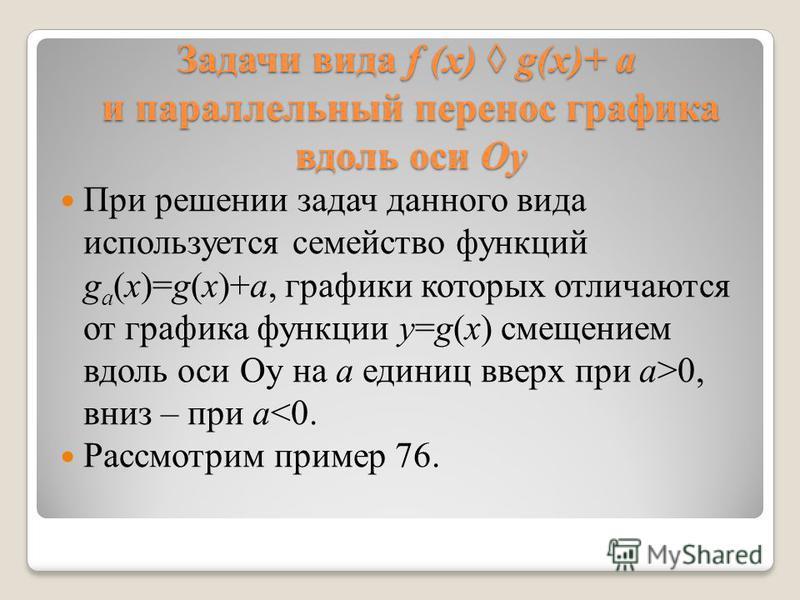 Задачи вида f (x) g(x)+ a и параллельный перенос графика вдоль оси Оу При решении задач данного вида используется семейство функций g a (x)=g(x)+a, графики которых отличаются от графика функции y=g(x) смещением вдоль оси Оу на а единиц вверх при a>0,