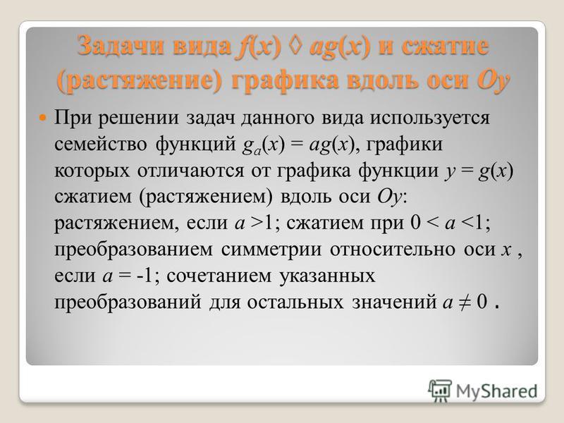 Задачи вида f(x) ag(x) и сжатие (растяжение) графика вдоль оси Оу При решении задач данного вида используется семейство функций g a (x) = ag(x), графики которых отличаются от графика функции y = g(x) сжатием (растяжением) вдоль оси Оу: растяжением, е