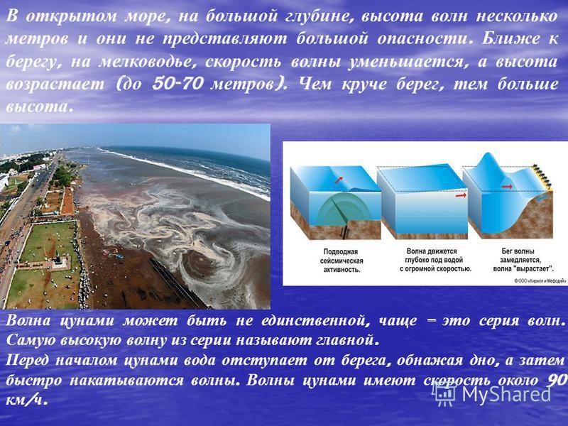 Волна сунами может быть не единственной, чаще – это серия волн. Самую высокую волну из серии называют главной. Перед началом сунами вода отступает от берега, обнажая дно, а затем быстро накатываются волны. Волны сунами имеют скорость около 90 км / ч.