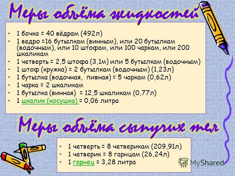 1 бочка = 40 вёдрам (492 л) 1 ведро =16 бутылкам (винным), или 20 бутылкам (водочным), или 10 штофам, или 100 чаркам, или 200 шкаликам 1 четверть = 2,5 штофа (3,1 м) или 5 бутылкам (водочным) 1 штоф (кружка) = 2 бутылкам (водочным) (1,23 л) 1 бутылка