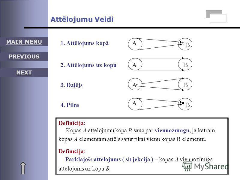 Attēlojumu Veidi 1. Attēlojums kopāA B 2. Attēlojums uz kopuAB 3. DaļējsAB 4. Pilns A B Definīcija: Kopas A attēlojumu kopā B sauc par viennozīmīgu, ja katram kopas A elementam attēls satur tikai vienu kopas B elementu. Definīcija: Pārklajošs attēloj