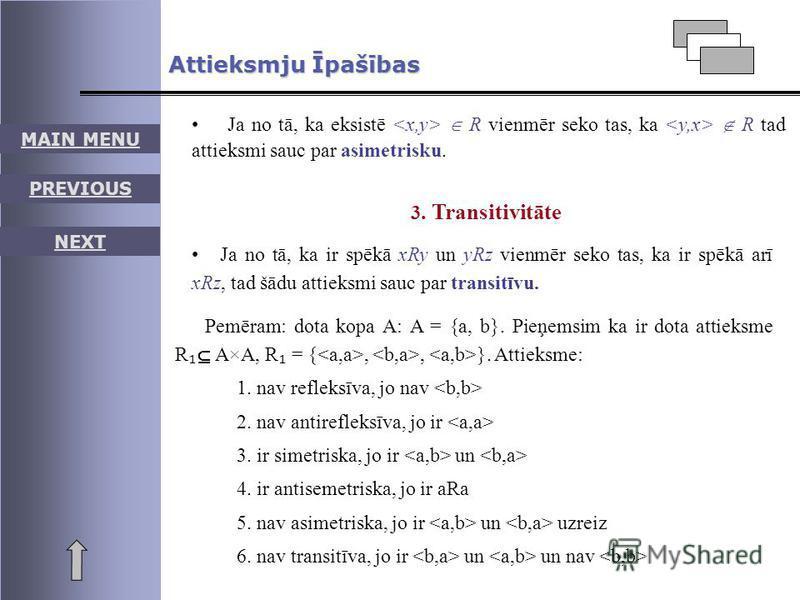 Pemēram: dota kopa A: A = {a, b}. Pieņemsim ka ir dota attieksme R A×A, R = {,, }. Attieksme: 1. nav refleksīva, jo nav 2. nav antirefleksīva, jo ir 3. ir simetriska, jo ir un 4. ir antisemetriska, jo ir aRa 5. nav asimetriska, jo ir un uzreiz 6. nav