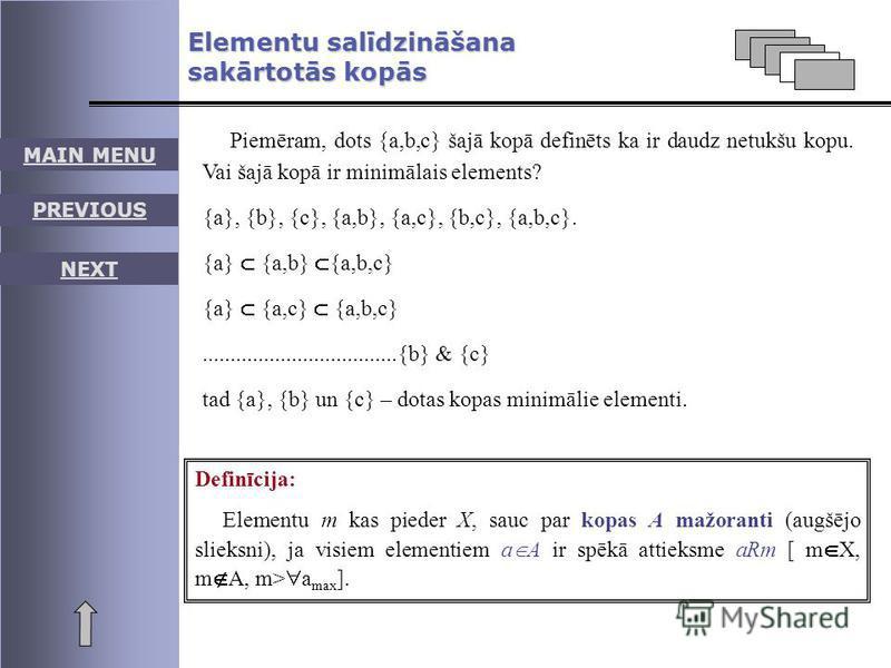 Elementu salīdzināšana sakārtotās kopās Piemēram, dots {a,b,c} šajā kopā definēts ka ir daudz netukšu kopu. Vai šajā kopā ir minimālais elements? {a}, {b}, {c}, {a,b}, {a,c}, {b,c}, {a,b,c}. {a} {a,b} {a,b,c} {a} {a,c} {a,b,c}........................