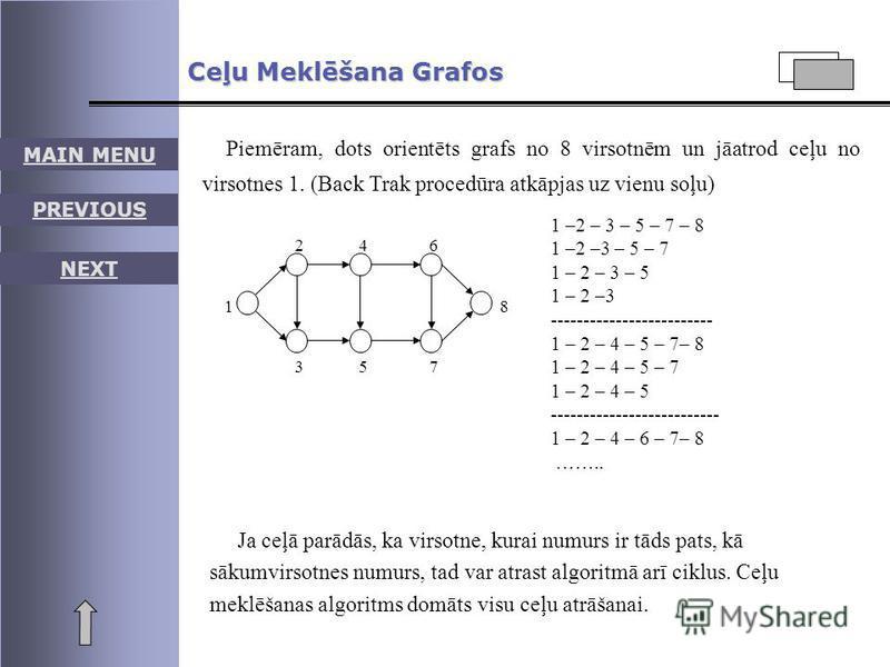 MAIN MENU PREVIOUS NEXT Ceļu Meklēšana Grafos Piemēram, dots orientēts grafs no 8 virsotnēm un jāatrod ceļu no virsotnes 1. (Back Trak procedūra atkāpjas uz vienu soļu) 1 2 3 4 5 6 7 8 1 –2 – 3 – 5 – 7 – 8 1 –3 – 5 – 7 1 – 2 – 3 – 5 1 – 2 -----------