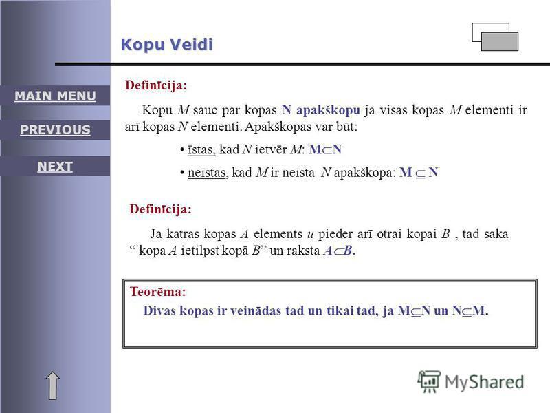 Definīcija: Kopu M sauc par kopas N apakškopu ja visas kopas M elementi ir arī kopas N elementi. Apakškopas var būt: īstas, kad N ietvēr M: M N neīstas, kad M ir neīsta N apakškopa: M N Definīcija: Ja katras kopas A elements u pieder arī otrai kopai