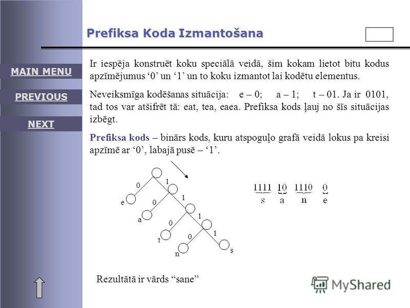 MAIN MENU PREVIOUS NEXT Prefiksa Koda Izmantošana Ir iespēja konstruēt koku speciālā veidā, šim kokam lietot bitu kodus apzīmējumus 0 un 1 un to koku izmantot lai kodētu elementus. Neveiksmīga kodēšanas situācija: e – 0; a – 1; t – 01. Ja ir 0101, ta
