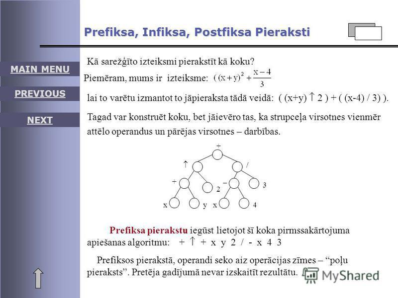 MAIN MENU PREVIOUS NEXT Prefiksa, Infiksa, Postfiksa Pieraksti Kā sarežģīto izteiksmi pierakstīt kā koku? Piemēram, mums ir izteiksme: lai to varētu izmantot to jāpieraksta tādā veidā: ( (x+y) 2 ) + ( (x-4) / 3) ). Tagad var konstruēt koku, bet jāiev