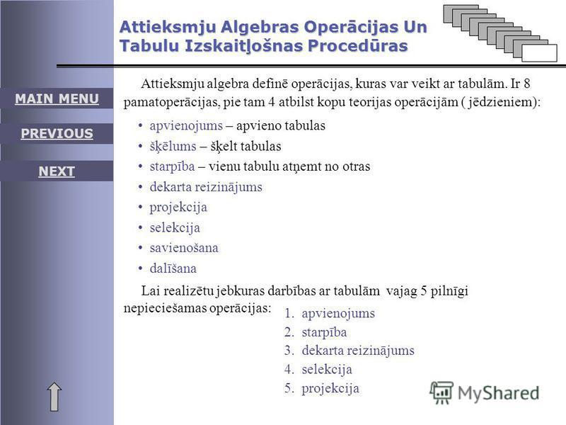 MAIN MENU PREVIOUS NEXT Attieksmju Algebras Operācijas Un Tabulu Izskaitļošnas Procedūras Attieksmju algebra definē operācijas, kuras var veikt ar tabulām. Ir 8 pamatoperācijas, pie tam 4 atbilst kopu teorijas operācijām ( jēdzieniem): apvienojums –