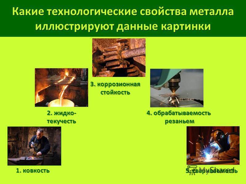 Какие технологические свойства металла иллюстрируют данные картинки 3. коррозионная стойкость 2. жидко- текучесть 1. ковкость 4. обрабатываемость резаньем резаньем 5. свариваемость