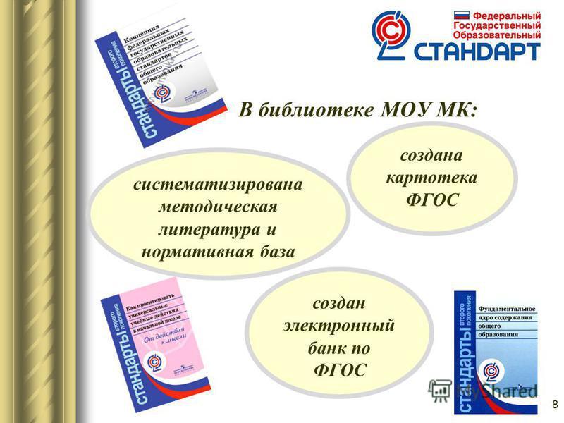 В библиотеке МОУ МК: 8 систематизирована методическая литература и нормативная база создана картотека ФГОС создан электронный банк по ФГОС