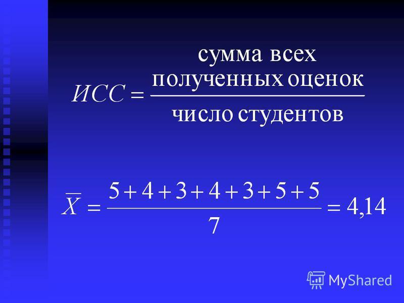 Иванов 5 Смирнов 4 Сотникова 3 Петров 4 Рыбаков 3 Курочкин 5 Селезнев 5 По результатам сдачи экзаменов по Теории статистики рассчитайте средний балл: