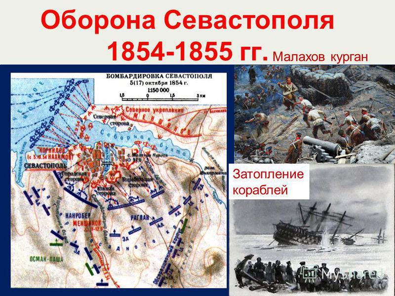 Оборона Севастополя 1854-1855 гг. Малахов курган Затопление кораблей