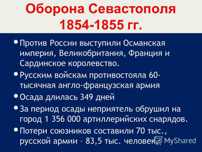 Оборона Севастополя 1854-1855 гг. Против России выступили Османская империя, Великобритания, Франция и Сардинское королевство. Русским войскам противостояла 60- тысячная англо-французская армия Осада длилась 349 дней За период осады неприятель обруши