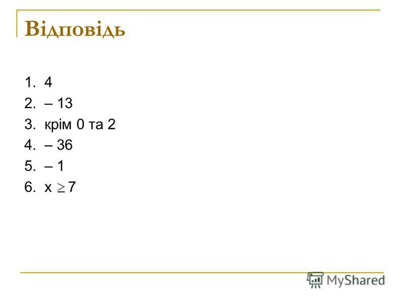 Математичний диктант 1. Назвати абсцису точки А (4 ; 7) 2. Функцію задано формулою у = 4х – 5. Знайти у(-2) 3. Записати область визначення функції у = 4. Знайти нулі функції у = х + 12 5. Функцію задано формулою у = 5х + 15. Знайти х, якщо у(х) = 10
