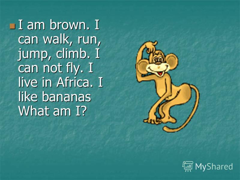 I am brown. I can walk, run, jump, climb. I can not fly. I live in Africa. I like bananas What am I? I am brown. I can walk, run, jump, climb. I can not fly. I live in Africa. I like bananas What am I?