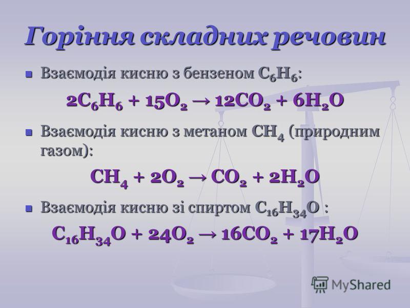 Горіння складних речовин Взаємодія кисню з бензеном С 6 Н 6 : Взаємодія кисню з бензеном С 6 Н 6 : 2C 6 H 6 + 15О 2 12CO 2 + 6H 2 O Взаємодія кисню з метаном СН 4 (природним газом): Взаємодія кисню з метаном СН 4 (природним газом): CH 4 + 2О 2 CO 2 +