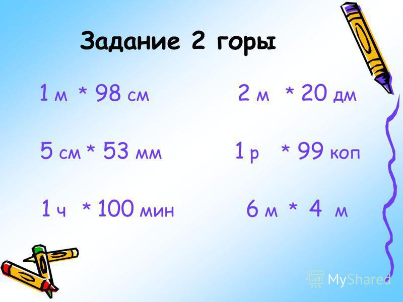 Задание 2 горы 1 м * 98 см 2 м * 20 дм 5 см * 53 мм 1 р * 99 коп 1 ч * 100 мин 6 м * 4 м