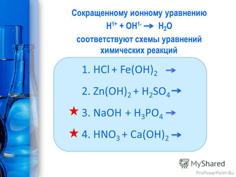 ProPowerPoint.Ru Сокращенному ионному уравнению Н 1+ + ОН 1- H 2 O соответствуют схемы уравнений химических реакций 1. HСl + Fe(OH) 2 2. Zn(OH) 2 + H 2 SO 4 3. NaOH + H 3 PO 4 4. HNO 3 + Ca(OH) 2