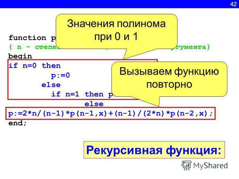 function p(n:integer; x:real):real; { n - степень полинома, x- значение аргумента} begin if n=0 then p:=0 else if n=1 then p:=2*x else p:=2*n/(n-1)*p(n-1,x)+(n-1)/(2*n)*p(n-2,x); end; Значения полинома при 0 и 1 Вызываем функцию повторно Рекурсивная