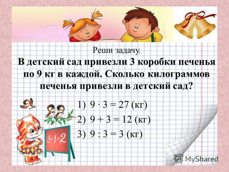 Реши задачу. В детский сад привезли 3 коробки печенья по 9 кг в каждой. Сколько килограммов печенья привезли в детский сад? 1)9 · 3 = 27 (кг) 2)9 + 3 = 12 (кг) 3)9 : 3 = 3 (кг)