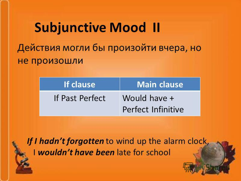 Subjunctive Mood II Действия могли бы произойти вчера, но не произошли If clauseMain clause If Past PerfectWould have + Perfect Infinitive If I hadnt forgotten to wind up the alarm clock, I wouldnt have been late for school