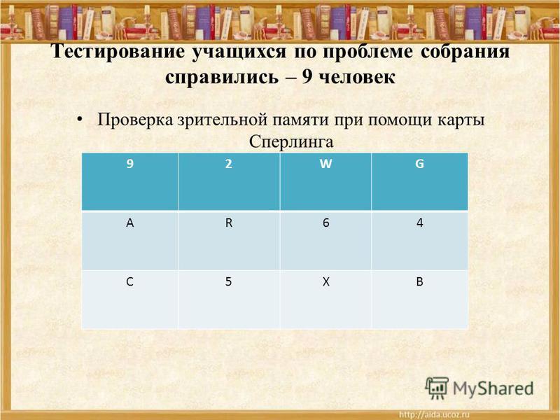 Тестирование учащихся по проблеме собрания справились – 9 человек Проверка зрительной памяти при помощи карты Сперлинга 92WG АR64 С5ХВ