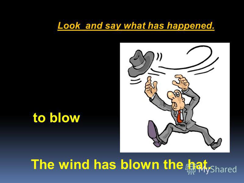 Look and say what has happened. The wind has blown the hat. to blow