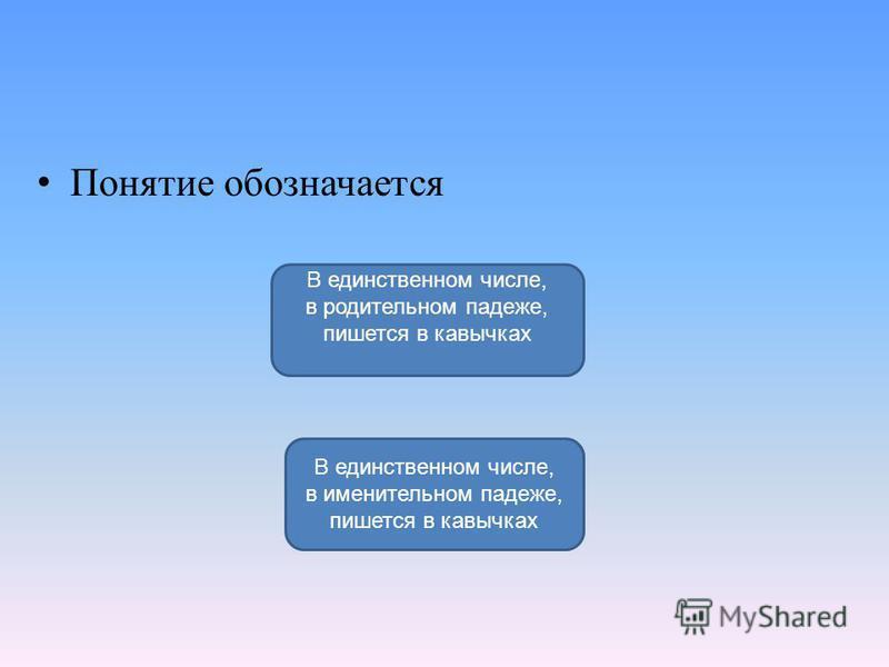 Понятие обозначается В единственном числе, в именительном падеже, пишется в кавычках В единственном числе, в родительном падеже, пишется в кавычках