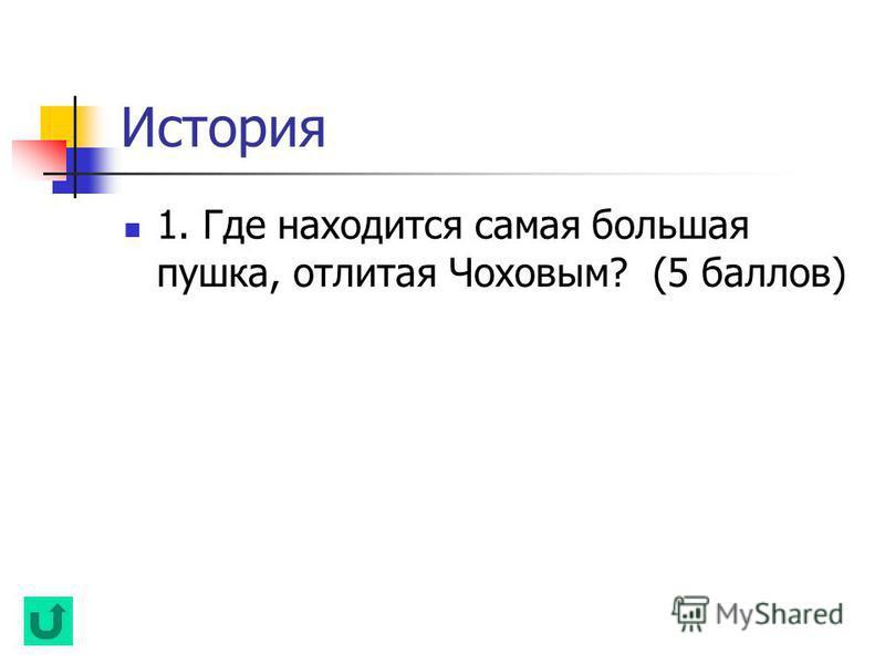 История 1. Где находится самая большая пушка, отлитая Чоховым? (5 баллов)