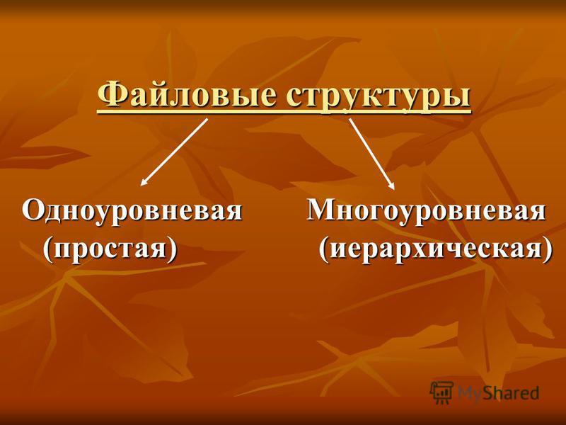 Файловые структуры Одноуровневая Многоуровневая (простая) (иерархическая)