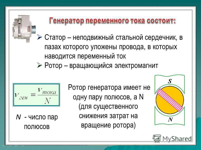 Статор – неподвижный стальной сердечник, в пазах которого уложены провода, в которых наводится переменный ток Ротор – вращающийся электромагнит N - число пар полюсов Ротор генератора имеет не одну пару полюсов, а N (для существенного снижения затрат
