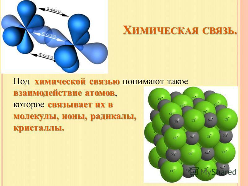 Х ИМИЧЕСКАЯ СВЯЗЬ. Х ИМИЧЕСКАЯ СВЯЗЬ. химической связью взаимодействие атомов Под химической связью понимают такое взаимодействие атомов, связывает их в которое связывает их в молекулы, ионы, радикалы, кристаллы.