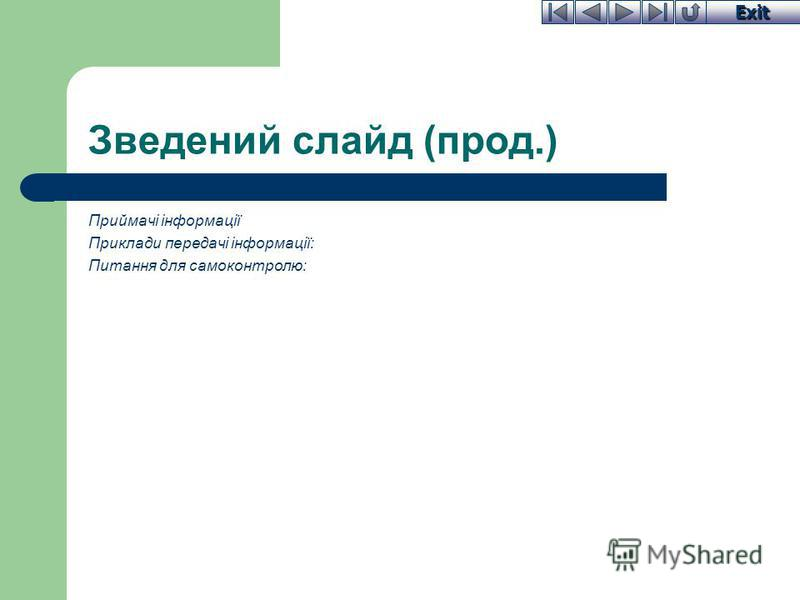 Exit Зведений слайд (прод.) Приймачі інформації Приклади передачі інформації: Питання для самоконтролю: