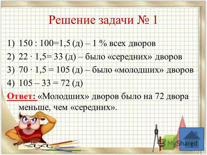 Решение задачи 1 1)150 : 100=1,5 (д) – 1 % всех дворов 2)22 1,5= 33 (д) – было «средних» дворов 3)70 1,5 = 105 (д) – было «молодших» дворов 4)105 – 33 = 72 (д) Ответ: «Молодших» дворов было на 72 двора меньше, чем «средних».