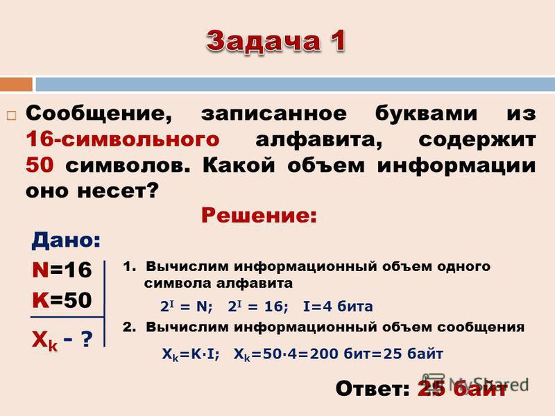 Сообщение, записанное буквами из 16-символьного алфавита, содержит 50 символов. Какой объем информации оно несет? Ответ: 25 байт Решение: Дано: 2 I = N; 2 I = 16; I=4 бита 1. Вычислим информационный объем одного символа алфавита 2. Вычислим информаци