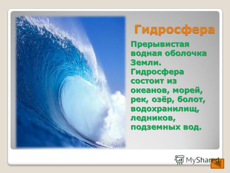 Гидросфера Прерывистая водная оболочка Земли. Гидросфера состоит из океанов, морей, рек, озёр, болот, водохранилищ, ледников, подземных вод.
