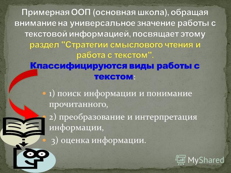 1) поиск информации и понимание прочитанного, 2) преобразование и интерпретация информации, 3) оценка информации.