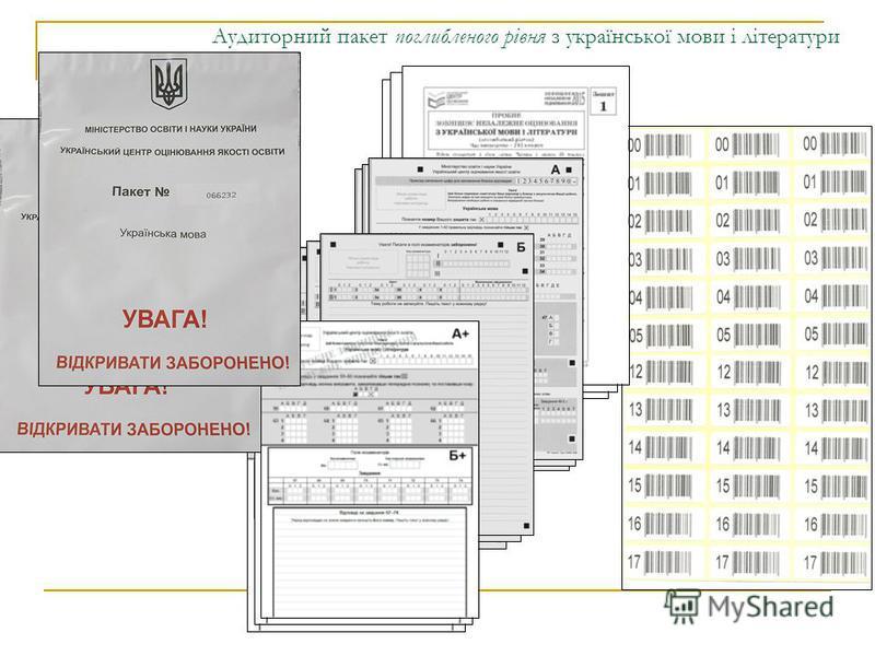 Аудиторний пакет поглибленого рівня з української мови і літератури