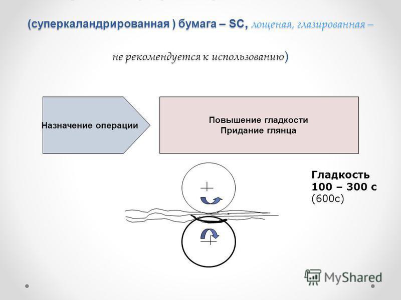 Обработка в суперкаландрах (Каландрированная (суперкаландрированная ) бумага – SC, лощеная, глазированная – не рекомендуется к использованию ) Назначение операции Повышение гладкости Придание глянца Гладкость 100 – 300 с (600 с)