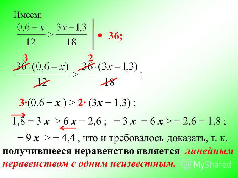 Имеем: 36; 32 3(0,6 х ) > 2 (3 х 1,3) ; 1,8 3 х > 6 х 2,6 ; 3 х 6 х > 2,6 1,8 ; 9 х > 4,4, что и требовалось доказать, т. к. получившееся неравенство является линейным неравенством с одним неизвестным.