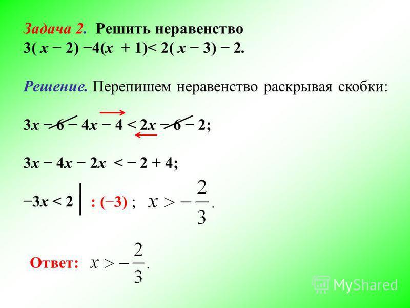 Задача 2. Решить неравенство 3( х 2) 4(х + 1)< 2( х 3) 2. Решение. Перепишем неравенство раскрывая скобки: 3 х 6 4 х 4 < 2 х 6 2; 3 х 4 х 2 х < 2 + 4; 3 х < 2 Ответ: : (3) ;