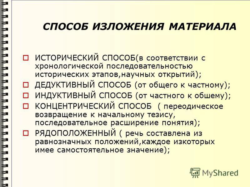 СПОСОБ ИЗЛОЖЕНИЯ МАТЕРИАЛА ИСТОРИЧЕСКИЙ СПОСОБ(в соответствии с хронологической последовательностью исторических этапов,научных открытий); ДЕДУКТИВНЫЙ СПОСОБ (от общего к частному); ИНДУКТИВНЫЙ СПОСОБ (от частного к общему); КОНЦЕНТРИЧЕСКИЙ СПОСОБ (