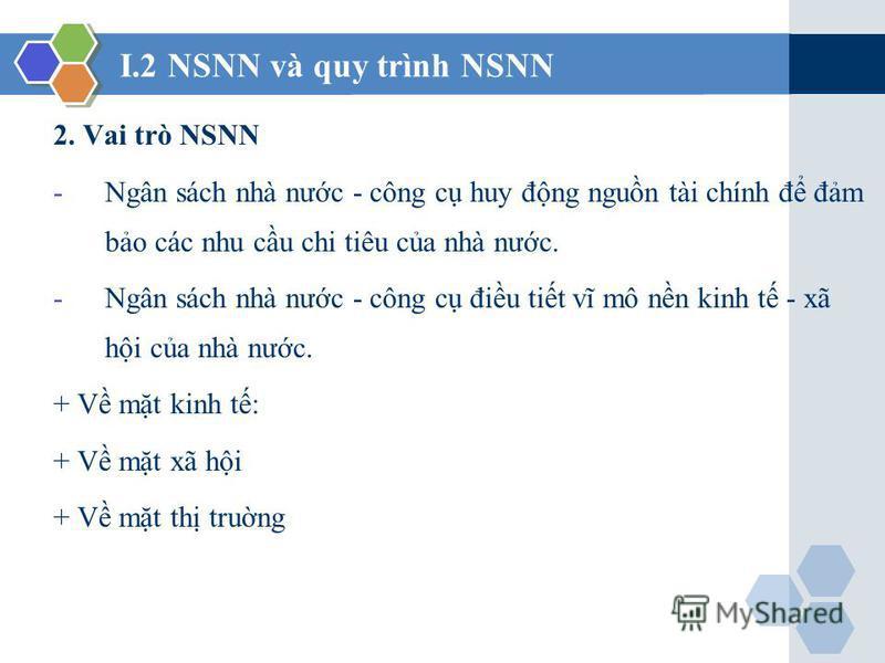 I.2 NSNN và quy trình NSNN 2. Vai trò NSNN -Ngân sách nhà nưc - công c huy đng ngun tài chính đ đm bo các nhu cu chi tiêu ca nhà nưc. -Ngân sách nhà nưc - công c điu tit vĩ mô nn kinh t - xã hi ca nhà nưc. + V mt kinh t: + V mt xã hi + V mt th trung