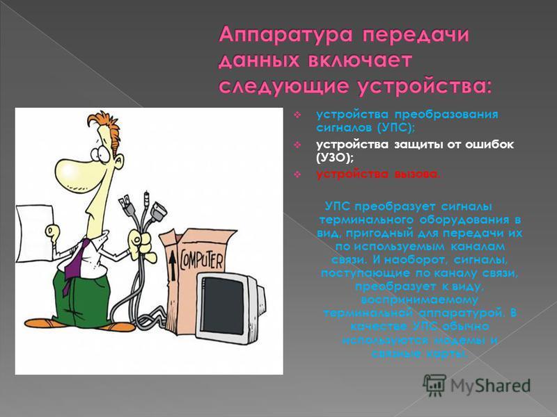 устройства преобразования сигналов (УПС); устройства защиты от ошибок (УЗО); устройства вызова. УПС преобразует сигналы терминального оборудования в вид, пригодный для передачи их по используемым каналам связи. И наоборот, сигналы, поступающие по кан